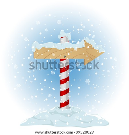 North Pole sign with the falling snow, illustration - stock vector