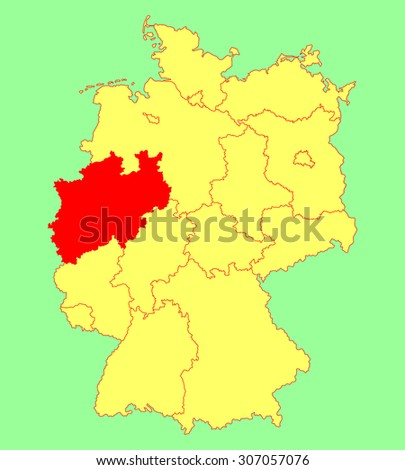 north rhine westphalia state map germany vector map silhouette illustration isolated on germany