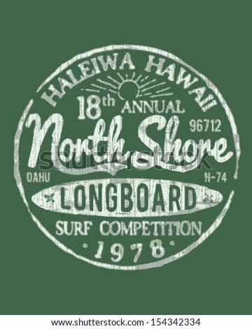 North Shore Surfing Theme Vintage Design For Apparel - stock vector