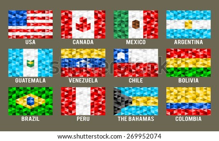 North & South America low poly flags vector illustration - stock vector