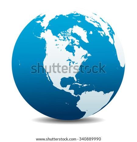 North, South, and Central AMERICA, Global World - stock vector