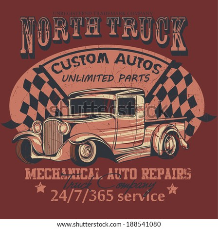 North truck/ Scratches are available in a separate layer and can be removed - stock vector