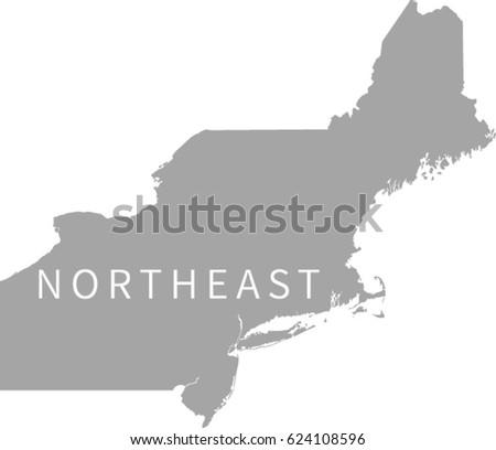 Northeast Region Us Map Stock Vector Shutterstock - Us map northeast region