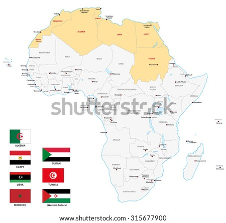 northern africa map with flags - stock vector