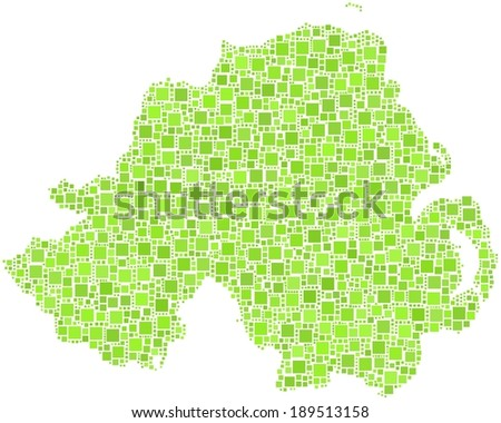 Northern Ireland - United Kingdom - in a mosaic of green squares - stock vector