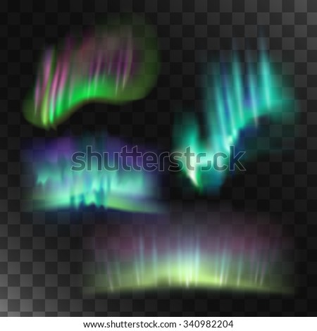 Northern lights vector set. Abstract blue lights. - stock vector