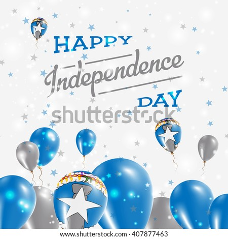 Northern Mariana Islands Independence Day Patriotic Design. Balloons in National Colors of the Country. Happy Independence Day Vector Greeting Card.
