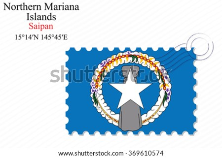 northern mariana islands stamp design over stripy background, abstract vector art illustration, image contains transparency - stock vector