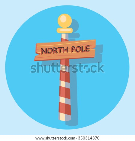 northpole sign circle flat icon
