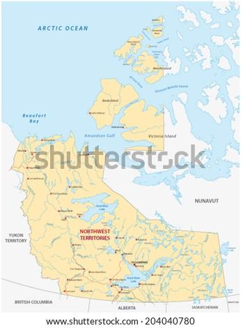 northwest territories map - stock vector