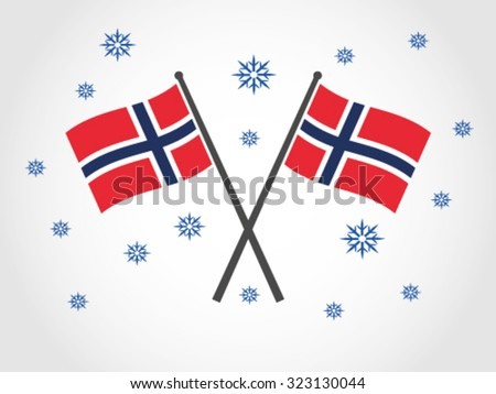 Norway Crossed Flag Emblem Winter