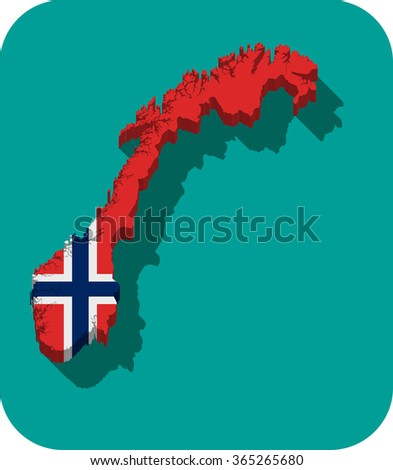 Map Norway Filled Flag State Stock Vector Shutterstock - Norway map and flag