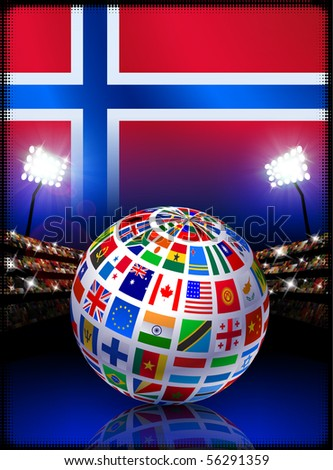 Norway Flag Globe on Stadium Background Original Illustration