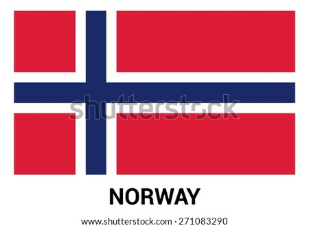 Norway flag isolated vector in official colors and Proportion Correctly. country's name label in bottom