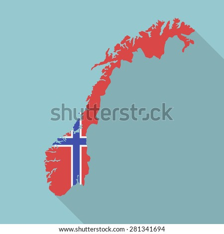 Norway flag,map flat icon with long shadow. Vector EPS10 - stock vector