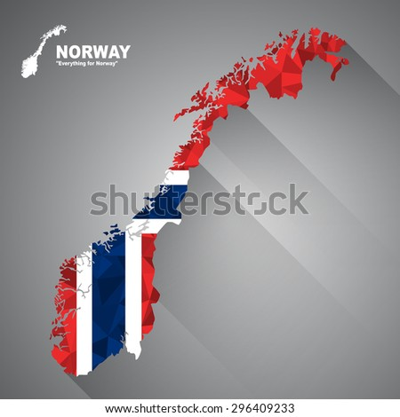 Norway flag overlay on Norway map with polygonal and long tail shadow style (EPS10 art vector)