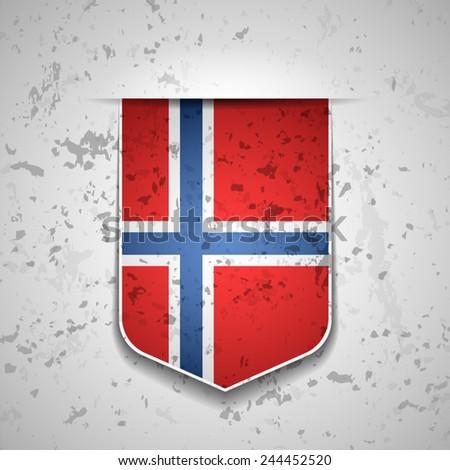 Norway Flag Shield - stock vector