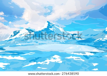 Norway high mountains winter landscape. - stock vector