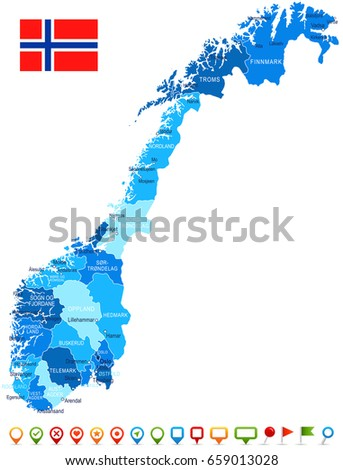 Norway Map Flag Inside Ribbon Stock Vector Shutterstock - Norway map and flag