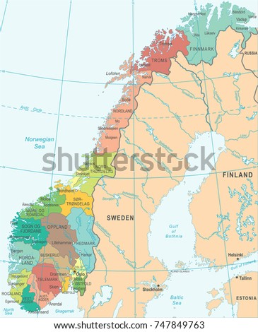 Norway Map Detailed Vector Illustration Stock Vector - Map of cities in norway