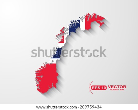 Norway map with shadow effect  - stock vector