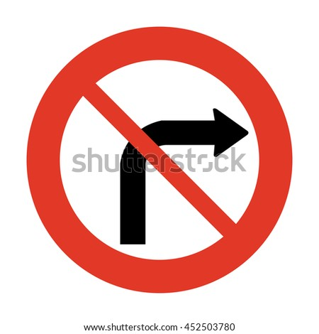 Norway No Right Turn Sign - stock vector