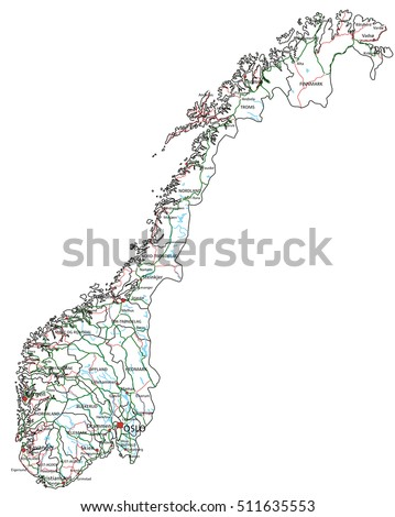 Norway road highway map vector illustration stock vector 511635553 norway road and highway map vector illustration publicscrutiny Choice Image