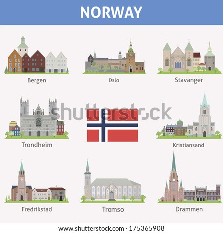 Norway. Symbols of cities. Vector set - stock vector