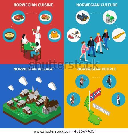 Norway Touristic Map Norwegean Village Culture Stock Vector - Norway map cartoon