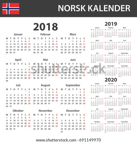 English Calendar 2018 2019 2020 Scheduler Stock Vector 691149961