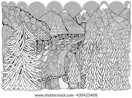 Norwegian fjords. Black and white abstract fantasy picture. Fir trees, river and mountain views. Eco theme. Pattern for coloring book. Hand-drawn, ethnic, retro, doodle, vector, zentangle, tribal - stock vector