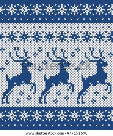 Norwegian Sweater Deer Snowflake Seamless Knitting Stock Vector