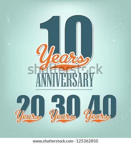 Nostalgic anniversary design in retro style - stock vector