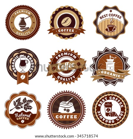 Nostalgic best quality premium coffee emblems labels collection for sale vintage brown abstract isolated vector illustration - stock vector