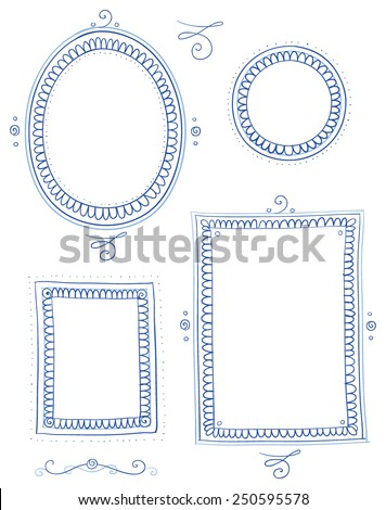 Nostalgic picture frame collection round, egg, oval and square shape, for invitation, marriage and easter cards. Hand drawn vector illustration. - stock vector