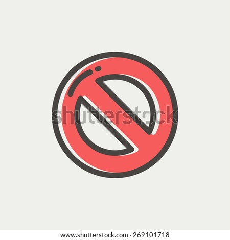 Not allowed icon thin line for web and mobile, modern minimalistic flat design. Vector icon with dark grey outline and offset colour on light grey background. - stock vector