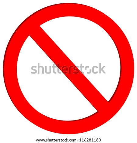 Not allowed sign on white background - vector - stock vector