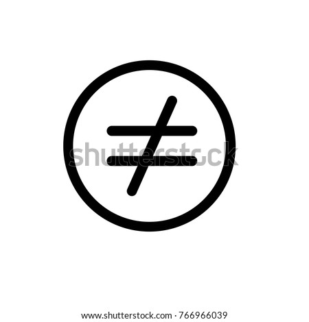 Not Equal Iconvector Illustration Flat Design Stock Vector 766966039