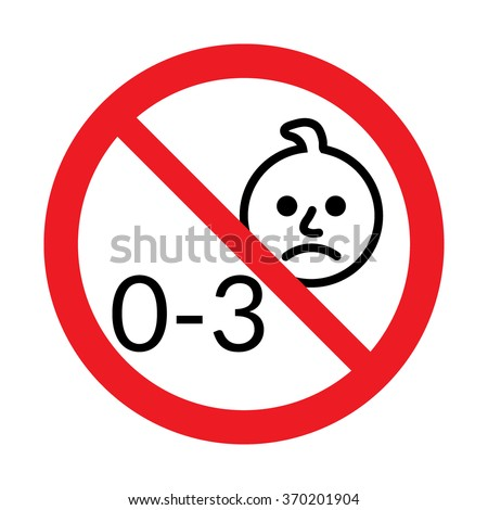 Not for children under 3 years of age icon. Silhouette of a child in red circle, isolated on white background. Warning symbol. Button prohibited from using kid under three years. Vector illustration - stock vector