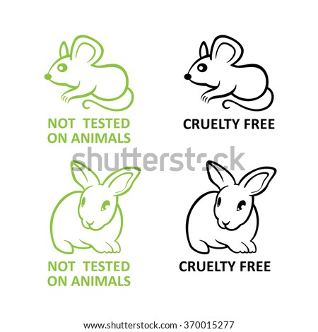 Not tested on animals symbols with rabbit and mice