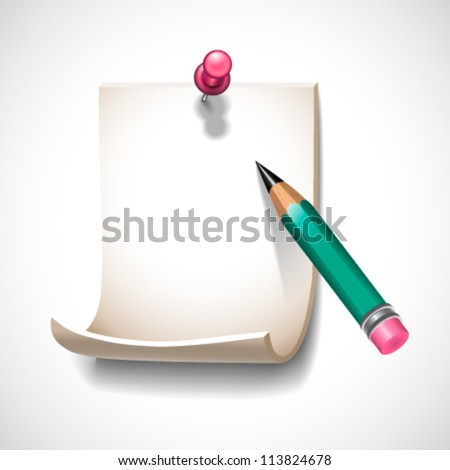 Note and pencil  - vector illustration for your business presentations. - stock vector