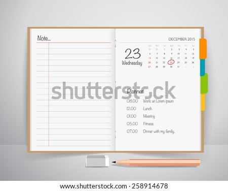 Note book with pencil, Business working elements for web design , mobile applications, social networks. - stock vector