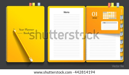 Note book, year planner and pencil, business working. vector file