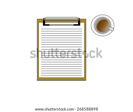Note cup of delicious coffee. - stock vector