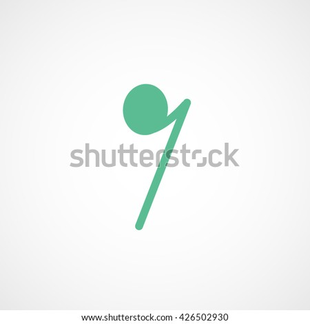 Note Green Flat Icon On White Background