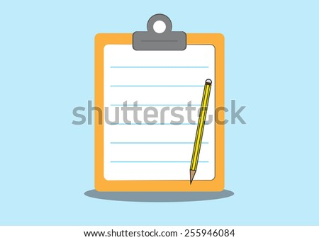 Note on clipboard and pencil.  - stock vector