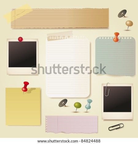 Note pad and pins set. Vector - stock vector