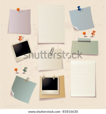Note pad and pins set.Vector - stock vector