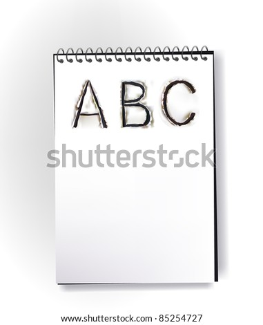 note page with ripped design ALPHABET - stock vector