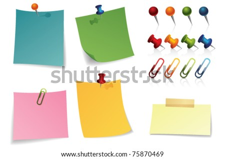note paper and pin - stock vector